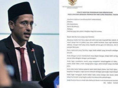 Pidato Menyentuh Nadiem untuk Guru Se-Indonesia